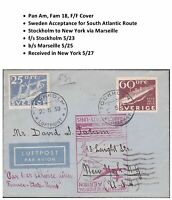 Transatlantic First Flight Cover Stockholm Sweden to New York 1939 via Pan Am