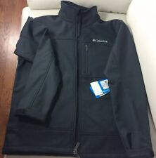 Mens Columbia Black Fleece Lined Smooth Softshell Jacket Size Medium NWT