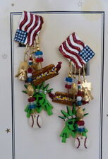 LUNCH AT THE RITZ USA ALL AMERICAN FLAG ENAMEL CRYSTAL EARRINGS ON MENU CARD