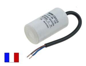 condensateur permanent  démarrage moteur 8uF 8µF 450v  Ø35 x 63mm