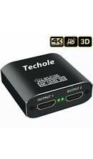 HDMI Splitter 1 in 2 Out - Techole 4K Aluminum Ver1.4 HDCP, Powered HDMI...