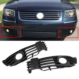 Pair Black w/Fog Light Hole Front Bumper Grill for VW Passat B5 B5.5