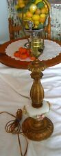 Vintage FRENCH TOLE & PORCELAIN TABLE LAMP Pink & Yellow Roses
