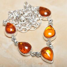 "Handmade Baltic Faux Amber Gemstone 925 Sterling Silver Necklace 19.5"" #N00806"