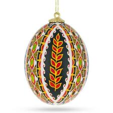 Wheat Chicken Size Blown Real Ukrainian Easter Egg Pysanky Ornament