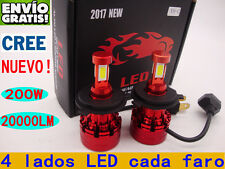 2x 200W 20000LM CREE Coche LED Faros Bombilla Lampara Kit H4 H7 H11 Blanco 6000K