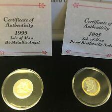 1995 Isle Of Man Dual 1/4 Oz Bi-metallic Gold/platinum Proof Coins COA Pobjoy