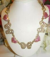 BETSEY JOHNSON DAINTY ICONIC PINK PAVED CRYSTAL HEARTS & BOWS FRONTAL NECKLACE
