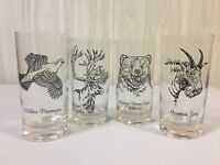 Vintage Barware Glasses Tumblers Animals Wildlife Hunting Set of 4