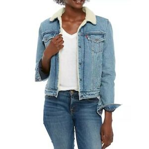 Levis Original Sherpa Trucker Denim Jean Jacket Size Medium Divided Blue Snap Up