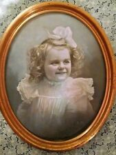 OLD PORTRAIT PAINTING BLOND GIRL CHILD ART SIGNED  BY M.H. GOLD COLOR OVAL FRAME