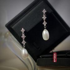Boucles d'Oreilles Perle de Culture Goutte Long Blanc Argent Massif 925 14mm D