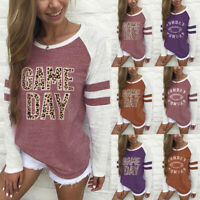 Women's Fashion Top Letter Printing Stripe T Shirt  Long Sleeve Casual Blouse