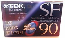 CASSETTE TAPE BLANK SEALED - 1x (one) TDK SF 90 (type II) [1992] heat resistant