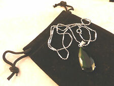 Austrian Crystals 18k White Gold Plated Dark Green Pear Shaped Crystal Necklace