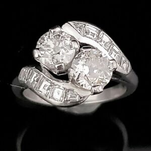 Vintage Twin Old European Cut Diamond Platinum Toi at Moi Ring Art Deco Gift