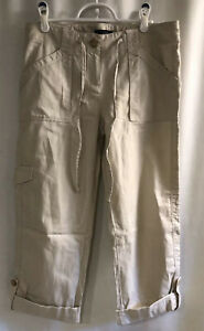 Ann Taylor Tan Khaki 2in1 Pants / Capris 2 Lightweight Cotton Blend Relaxed NWT!