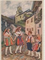Vallee de Bethmale Ayet France Vintage Art Postcard 318a