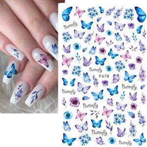 Nail Art Nagel Sticker *Blumen Blüte Blätter Butterfly Schmetterling * XXL Bogen