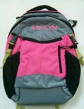 Pottery Barn Kids Small Colton Pink Gray Green Backpack with name ASHLYN New