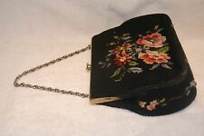 VINTAGE NEEDLEPOINT TAPESTRY Black floral BAG BOHO carpet purse