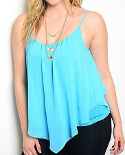Size 1XL TANK TOP Blue WOMENS PLUS SHIRT Lined RUFFLE Spaghetti Straps XL NEW