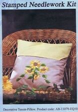 Sunflowers Cushion Tessin Pillow Yellow Check Stamped Embroidery Kit Flowers