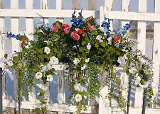 "Florida Gardens Cascading Window Box Flower Arrangements Decor 24"" Silks Vary"