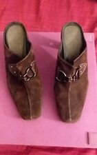 AEROSOLES Cinch Worm Size 8 M Heels Mules Slides Clogs Brown Leather Suede