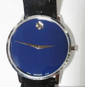 Large 40mm Movado Museum Blue Dial 07.1.14.1458 Steel Mens Wrist Watch