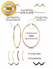 Anson&Hailey 4 Pairs Stainless Steel Hoop Earrings for Women Gift