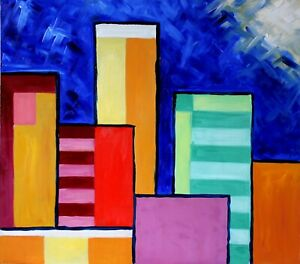 "Original art work ""nigth"" picture oil painting modern minimalism urban city"