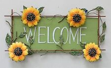 Metal Sunflower Welcome Sign Wall Art Décor Door Hanging Decor Sign Great Gift