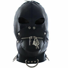 leather mask eyes collar and detachable zip mouth gag inside