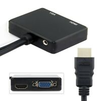HDMI to VGA & HDMI Female Splitter with Audio Video Cable Converter Adapter