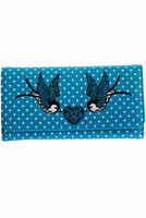 Teal Vintage Retro Swallows Polka Dots Rockabilly Wallet Purse By Banned Apparel