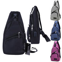 Men Canvas Chest Bag Outdoor Crossbody Sling Shoulder Bag Pack With USB Charging