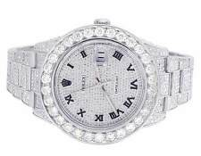Mens Rolex Datejust II 116300 Roman Dial Full Iced 41MM Diamond Watch 18.0 Ct