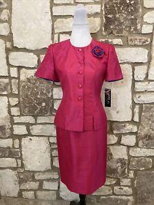 Kasper Petite Women's 2Pc Skirt Suit Pink Size 2P NWT