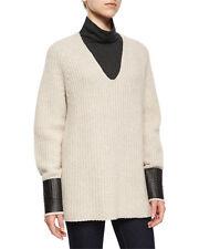 NEW Rag & Bone Jean Bonnie V Neck Ribbed Oatmeal Beige Long Sleeve Sweater Sz L