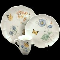 NEW 3 PC Place Setting Dinner Lenox China Butterfly Meadow Monarch Floral