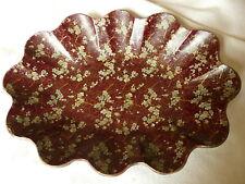 ancienne corbeille à pain papier maché carton bouilli décor de fleur japonisant