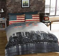 NEW YORK CITY AMERICAN BLUE REVERSIBLE COTTON BLEND SINGLE 3 PIECE BEDDING SET