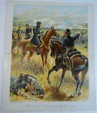 RARE Antique Litho Print General Meade Battle of Gettysburg 1863 Civil War 1900
