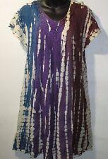 Dress Fits L XL 1X 2X Plus Blue Purple Brown Tie Dye A Shaped V Neck NWT F54S