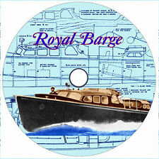 """Model Boat Plans RADIO CONTROL 3/4' = 1' SCALE 30""""  ROYAL BARGE NOTES & PLANS"""