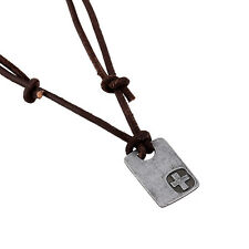 Carving Cross Dog Tag Pendant S47 New Men's Leather Surfer Necklace Brown Metal
