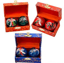 2 SETS CHINESE HEALTH STRESS RELIEF BAODING BALLS THERAPY DRAGON FREE SHIPPING