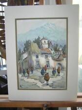 Original Watercolor Painting Village Scene Cusco Mission Street Peasants signed