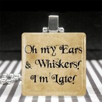 Alice in Wonderland White Rabbit Quote Oh my Ears & Whiskers I'm Late Necklace